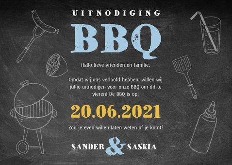Uitnodiging BBQ met hout, krijtbord, illustraties en foto's 3