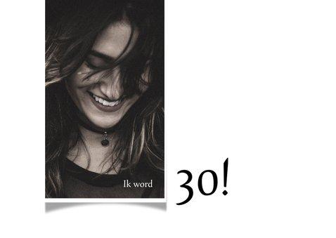 Uitnodiging borrel 30ste verjaardag, leuke typografie 2