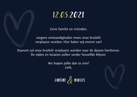 uitnodiging bruiloft nieuwe datum goud hartjes stijlvol 3