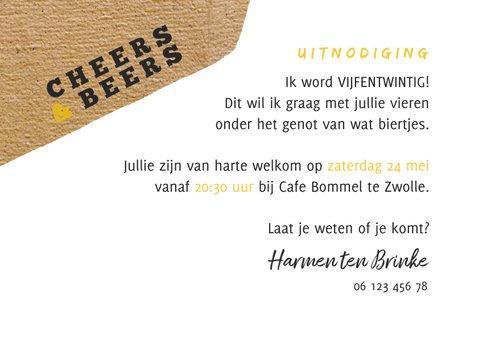 Uitnodiging Cheers & Beers met papierlook en foto 3