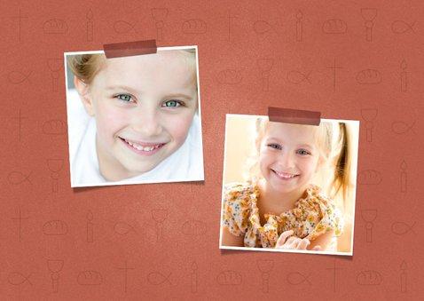 Uitnodiging communie christelijke symbolen met foto meisje 2