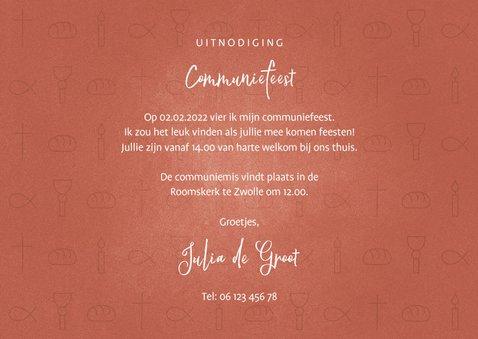 Uitnodiging communie christelijke symbolen met foto meisje 3