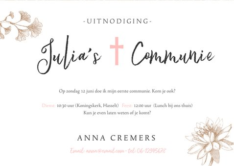 Uitnodiging communie feest meisje - kraft met bloemen  3