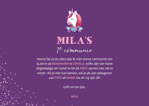 Uitnodiging communie grote foto met unicorn en confetti 3