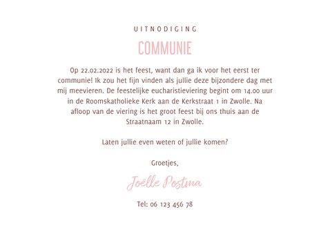Uitnodiging communie hip waterverf roze met hartjes 3