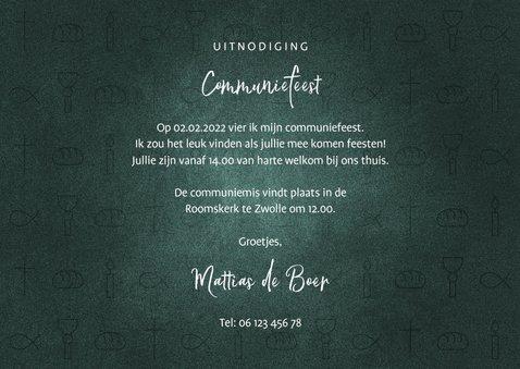 Uitnodiging communie jongen christelijke symbolen met foto 3
