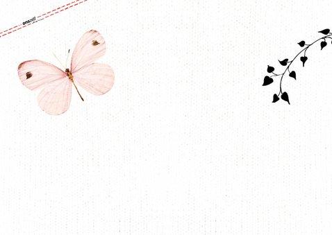 Uitnodiging communie met lieve roze vlinders en eigen foto 2