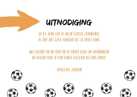 Uitnodiging communie voetballen en foto 3