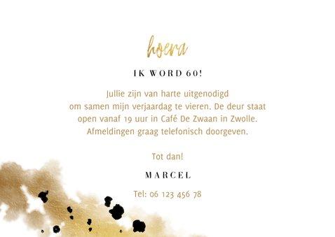 Uitnodiging confetti goud verjaardag drie foto's 3