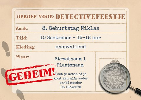 Uitnodiging detective kinderfeestje 3