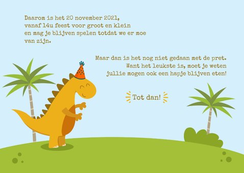 Uitnodiging Dino met palmbomen 3