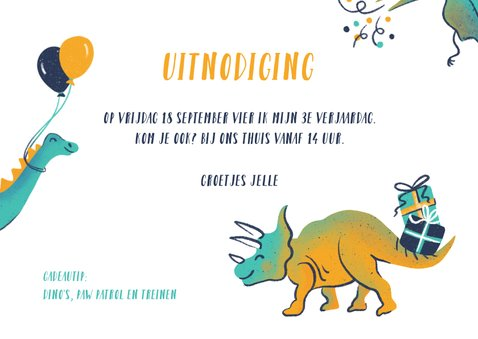Uitnodiging dino's met ballonnen 3
