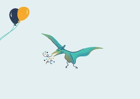 Uitnodiging dino's met ballonnen Achterkant