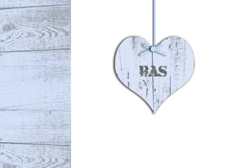Uitnodiging doopfeest jongen met houten hart 2