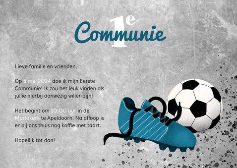 Uitnodiging eerste communie met voetbal en voetbalschoen 3