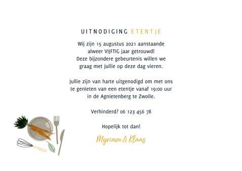 Uitnodiging etentje jubileum 50 jaar getrouwd met foto's 3