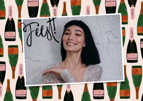 Uitnodiging feest - met foto's en champagnekader 2