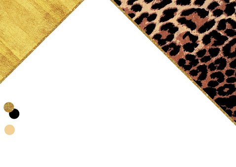 Uitnodiging feestelijke kaart met panterprint en confetti 2