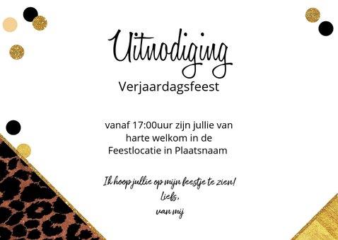 Uitnodiging feestelijke kaart met panterprint en confetti 3