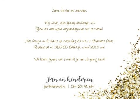 Uitnodiging feestje felicitatie glitter goud 3