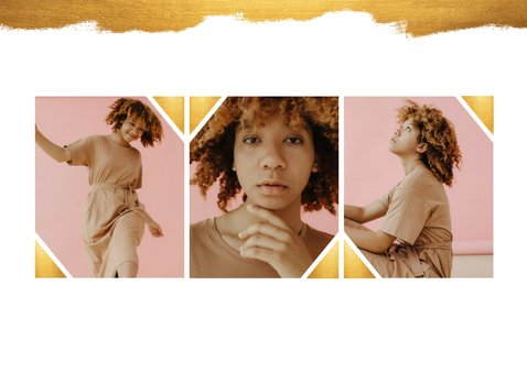 Uitnodiging fotocollage gouden verf stijlvol 2