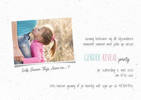 Uitnodiging gender reveal party muizenhart kraftpapier 3