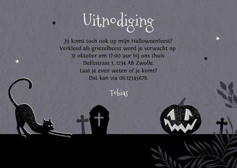 Uitnodiging halloweenfeest spooktocht donker pompoen kat 3