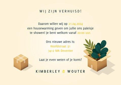 Uitnodiging Housewarming met verhuisdozen, planten en kat 3