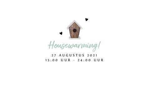 Uitnodiging housewarming met vogelhuisje en eigen foto 2