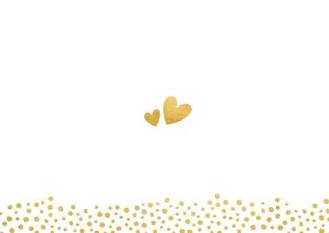 Uitnodiging huwelijk met een dagindeling tijdlijn goudlook Achterkant