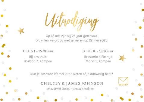 Uitnodiging jubileum 25 jaar getrouwd met goud en confetti 3