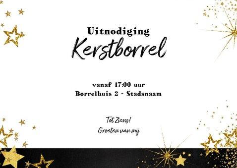 Uitnodiging (kerst) borrel feestelijke kaart met sterretjes 3