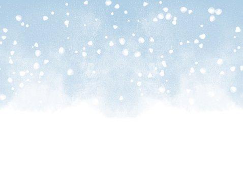 Uitnodiging kerstborrel met waterverf en sneeuw Achterkant