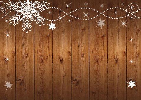 Uitnodiging kerstborrel sneeuwvlokken houtlook 2