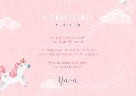 Uitnodiging kinderfeestje eenhoorn meisje wolkjes foto 3