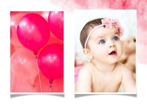 Uitnodiging kinderfeestje flamingo met foto en waterverf 2