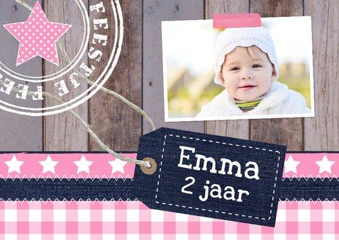 Uitnodiging kinderfeestje foto meisje label hout  2