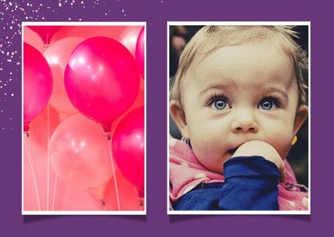 Uitnodiging kinderfeestje grote foto met unicorn en confetti 2