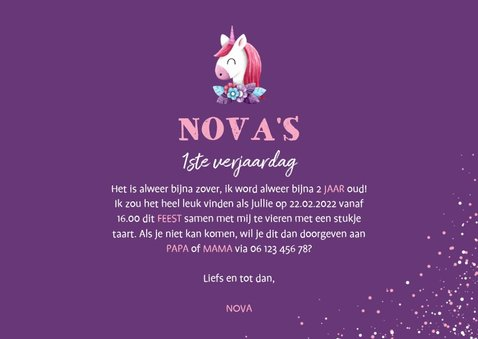 Uitnodiging kinderfeestje grote foto met unicorn en confetti 3