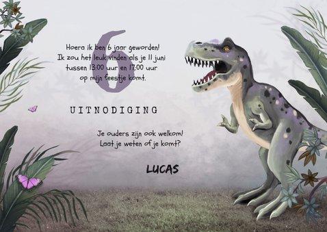 Uitnodiging kinderfeestje jongen t-rex dino jungle 3