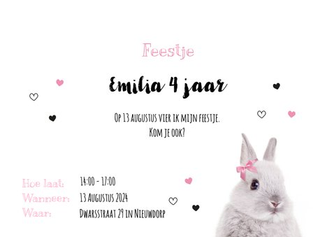 Uitnodiging - Kinderfeestje - Konijntje met roze strikje 3