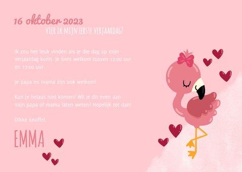 Uitnodiging kinderfeestje lieve flamingo, hartjes en foto's 3