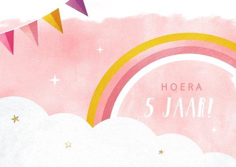Uitnodiging kinderfeestje meisje met eenhoorn en regenboog 2