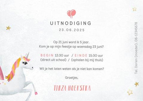 Uitnodiging kinderfeestje meisje met eenhoorn en regenboog 3