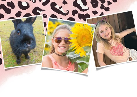 Uitnodiging kinderfeestje meisje met roze panterprint + foto 2