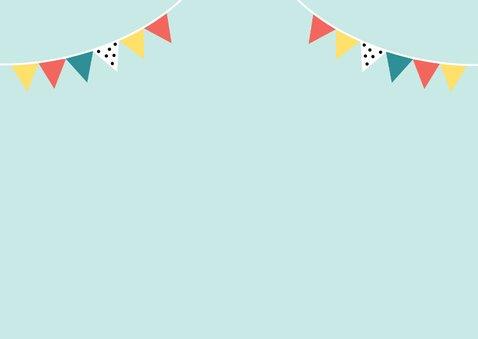 Uitnodiging kinderfeestje met vrolijke dino Achterkant