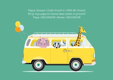 Uitnodiging kinderfeestje met vw busje vol dieren 3