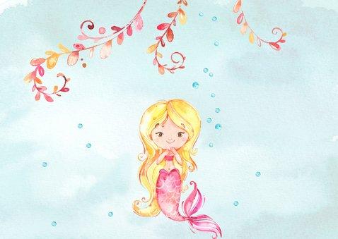 Uitnodiging kinderfeestje met zeemeermin 2