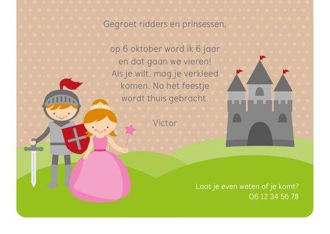 Uitnodiging kinderfeestje ridders en prinsessen 3