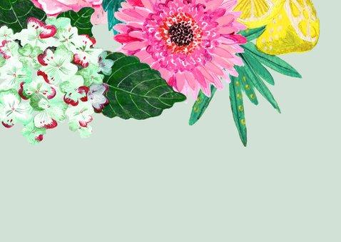 Uitnodiging Kinderfeestje Tropische Bloemen 2